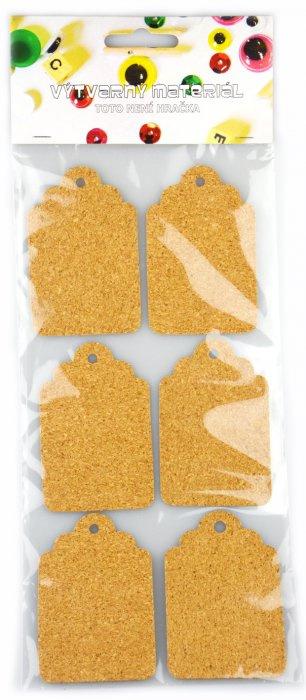 Samolepicí korek - visačky, 6 ks, 8 x 5 cm