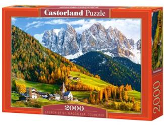 Puzzle 2000 dílků- Kostel svaté Magdalény, Dolomity