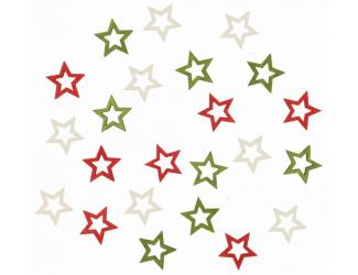 Dřevené hvězdy 2 cm, 3 barvy - 24 ks