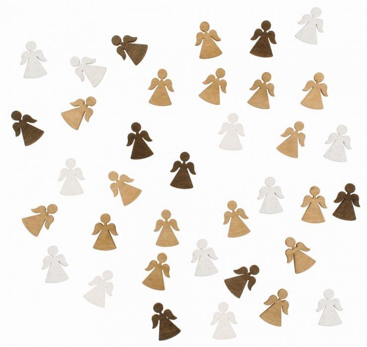 Dřevění andělíčci 2 cm, 3 barvy - 24 ks