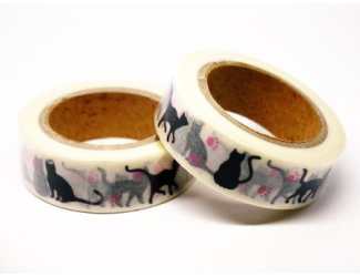 Dekorační lepicí páska - WASHI pásky-1ks Černé kočky s růžovými pacičkami