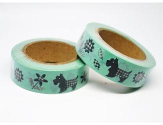 Dekorační lepicí páska - WASHI pásky-1ks Pejsci, kytičky na zeleném podkladu
