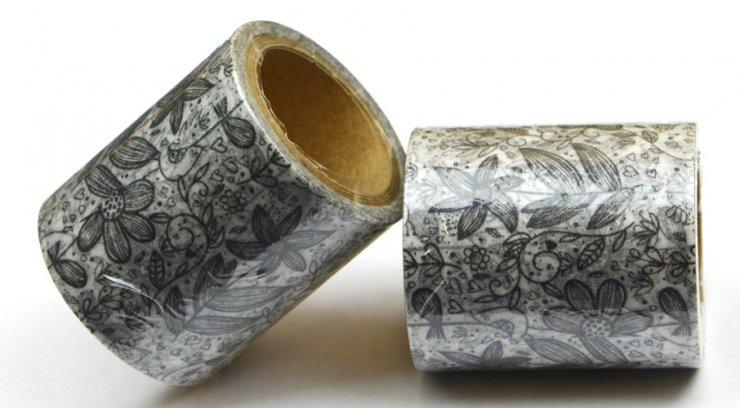 Vykreslovací antistresová dekorační lepicí páska - coloring WASHI tape-1ks kytky se stonkem