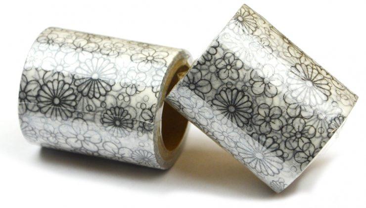 Vykreslovací antistresová dekorační lepicí páska - coloring WASHI tape-1ks - malé kytičky
