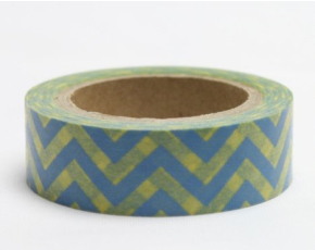 Dekorační lepicí páska - WASHI tape-1ks cikcak modá žlutá