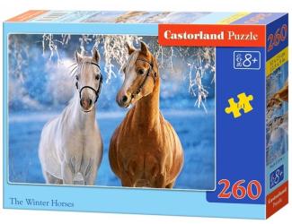 Puzzle 260 dílků - Koně v zasněžené krajině
