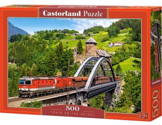 Puzzle 500 dílků- Vlak na mostě