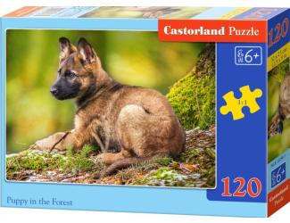 Puzzle 120 dílků- Štěně v lese