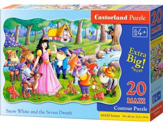 Puzzle MAXI 20 dílků - Sněhurka a 7 trpasíků