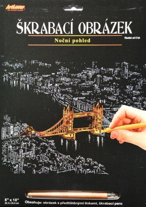 Škrabací obrázek - noční výhled - Tower Bridge