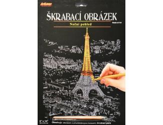 Škrabací obrázek - noční výhled - Eiffelka