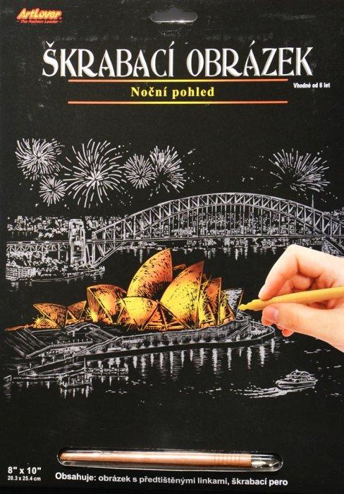 Škrabací obrázek - noční výhled - Sydney