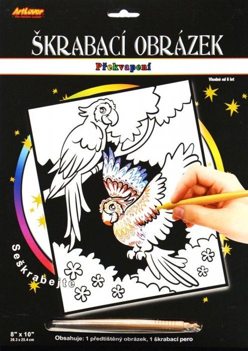 Vyškrabovací obrázek - překvapení - papoušci