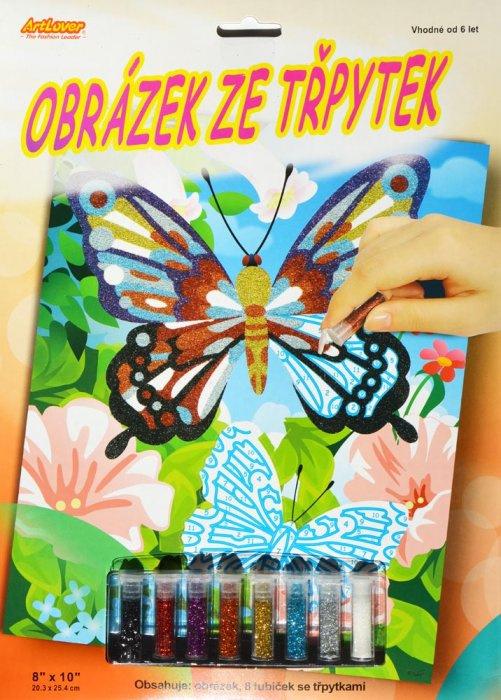 Obrázek ze třpytek - Motýl