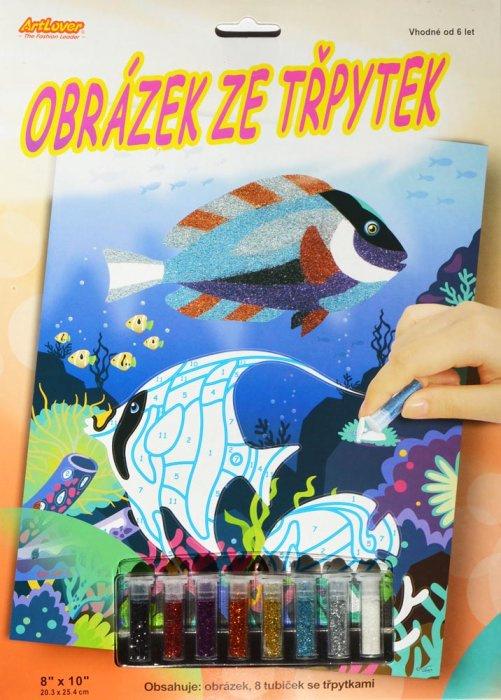 Obrázek ze třpytek - Ryby v moři