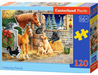 Puzzle 120 dílků - Setkání přátel ve stáji