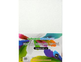 Třpytivá pěnovka - 10 ks, bílá, A4 - cca 2 mm