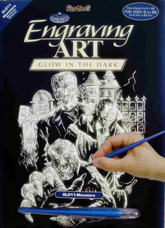 Škrabací obrázek- Svítící ve tmě- příšery