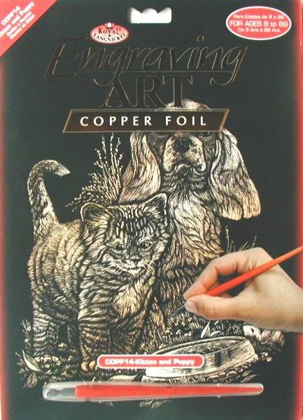 Škrabací obrázek- Pes s kočkou
