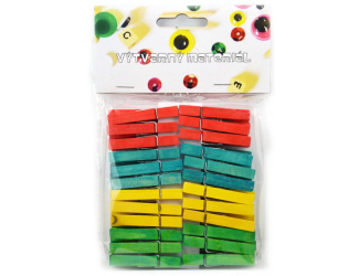Kolíčky dřevěné barevné - 48 ks, 46 x 70 mm