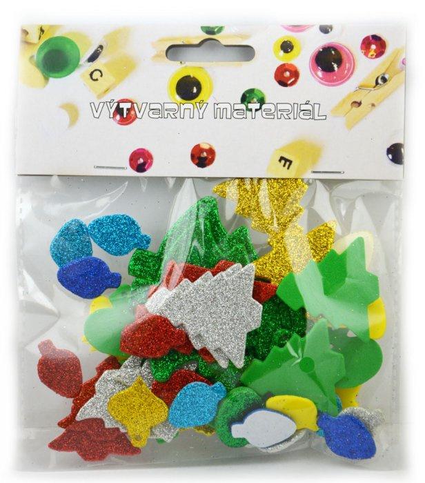 Pěnové vánoční dekorace, samolepicí - 55 ks, mix barev a velikostí