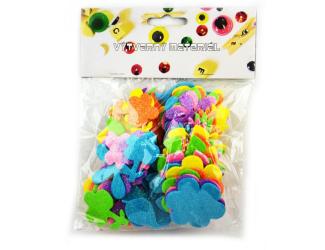 Pěnové kytičky - třpytivé - mix barev - 72 ks