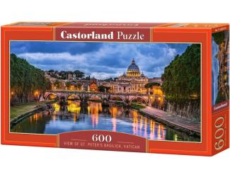 Puzzle 600 dílků - Výhled na Baziliku Svatého Petra, Vatikán