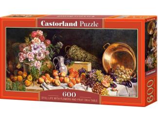 Puzzle 600 dílků -Květiny a ovoce na stole