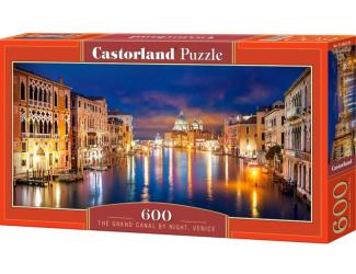 Puzzle 600 dílků - Noční kanál Grande, Benátky