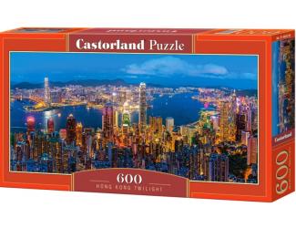 Puzzle 600 dílků - Noční Hong Kong