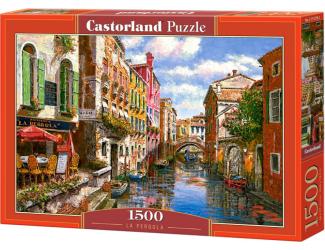 Puzzle 1500 dílků- Malovaný vodní kanál a gondoliér