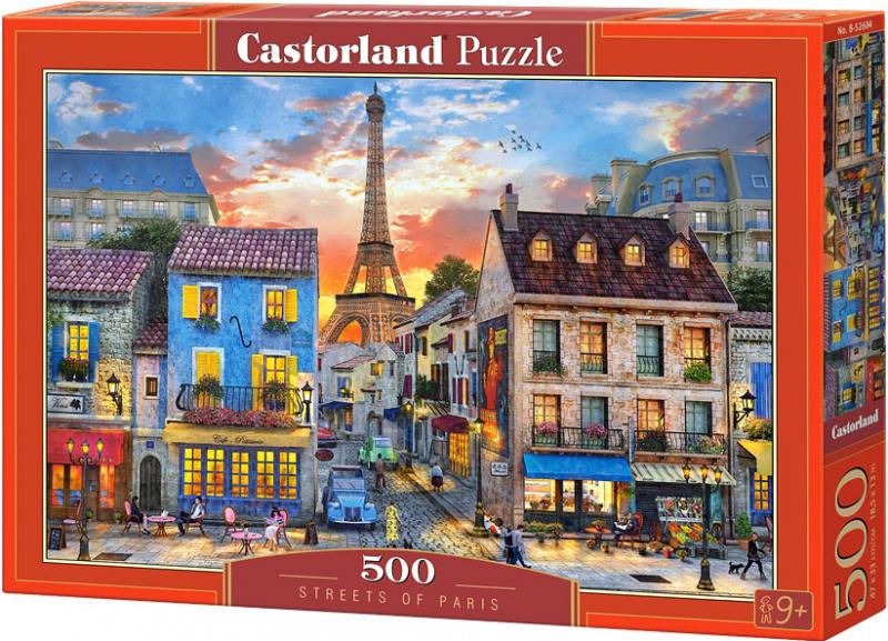 Puzzle Castorland 500 dílků - Ulička v Paříži - Pohled na Eiffelku