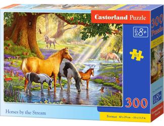 Puzzle 300 dílků- Koně v říčce