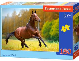 Puzzle 180 dílků - Hnědý kůň - podzimní vítr