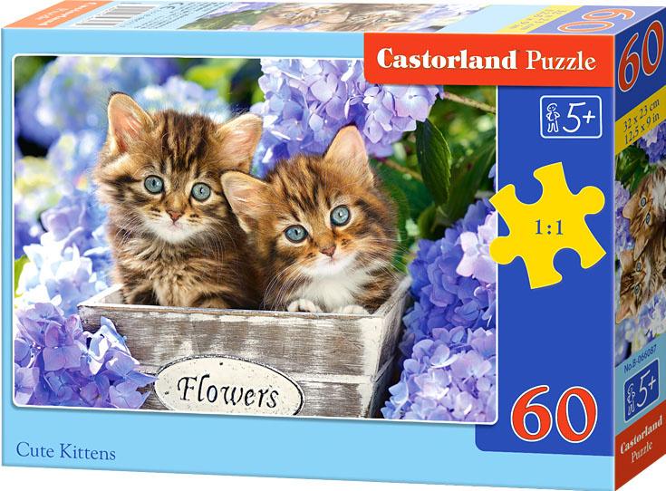 Puzzle Castorland 60 dílků - Koťátka ve fialových kvítkách