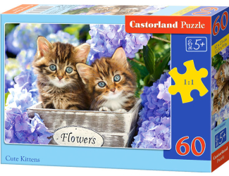 Puzzle 60 dílků- Koťátka ve fialových kvítkách