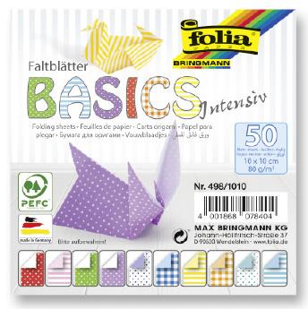 Papíry na skládání Origami, 50 listů, 10x10 cm, 80g – intensiv