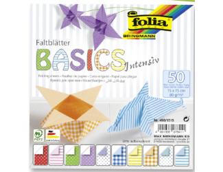 Papíry na skládání Origami, 50 listů, 15x15 cm, 80g – intensiv
