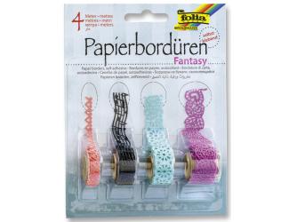 Samolepicí papírová krajka - růžová, černá, zelená, fialová - 4 metry