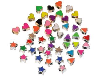 Plastové korálky, 50 ks, kovový vzhled - hvězdy, srdce, trojúhelník