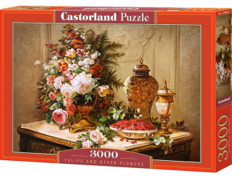 Puzzle 3000 dílků- Tulipány a jiné květiny na stole