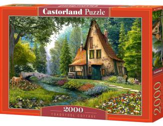 Puzzle 2000 dílků- Domek se špičatou stříškou u potoka