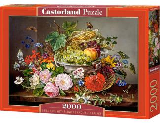 Puzzle 2000 dílků- Květiny a mísa s ovocem