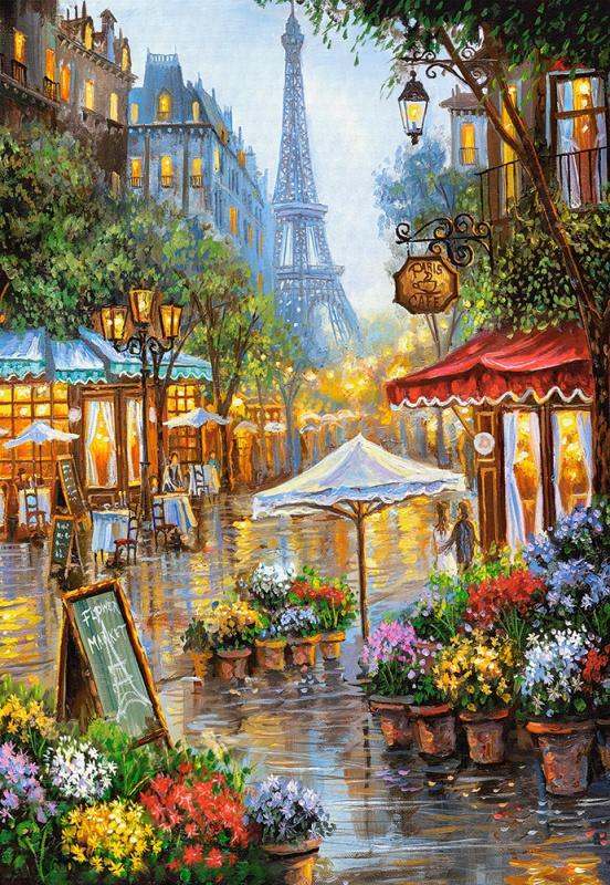 Puzzle Castorland 1000 dílků - Jarní květiny, Paříž