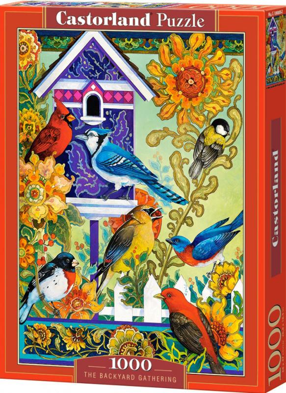 Puzzle Castorland 1000 dílků - Shromáždění ptáčku na zahradě