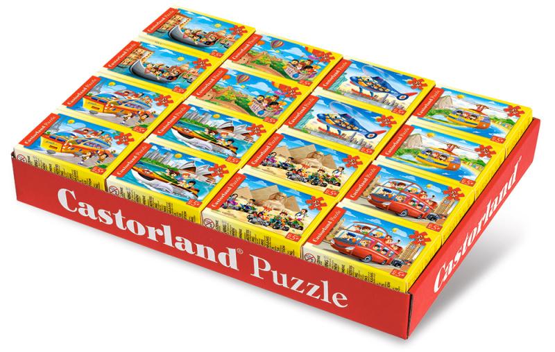 Minipuzzle 54d. - Cestování - mix 32ks v balení