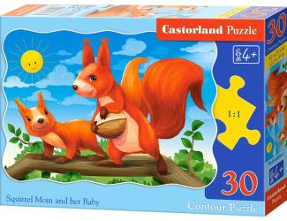 Puzzle 30 dílků - Veverka a její miminko