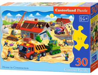 Puzzle 30 dílků - Stavba domu