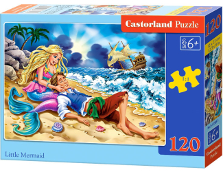 Puzzle 120 dílků - Malá mořská víla a princ