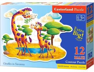 Puzzle Contour maxi 12 dílků- Žirafy na Savaně